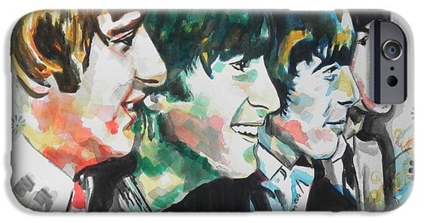 Beatles iPhone Cases - The Beatles 01 iPhone Case by Chrisann Ellis