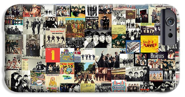 Pop Mixed Media iPhone Cases - The Beatles Collage iPhone Case by Taylan Soyturk