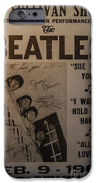 Autographed Photographs iPhone Cases - The Beatles Ed Sullivan Show Poster iPhone Case by Mitch Shindelbower