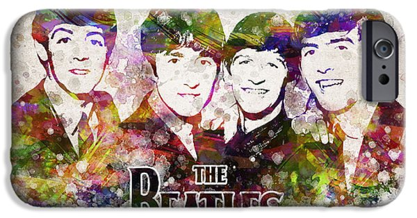 Beatles Digital Art iPhone Cases - The Beatles in Color iPhone Case by Aged Pixel