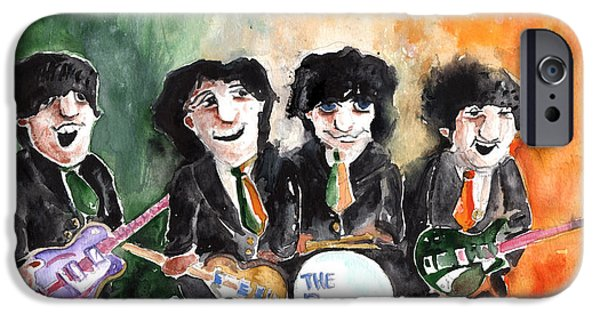 Mccartney Drawings iPhone Cases - The Beatles in Ireland iPhone Case by Miki De Goodaboom