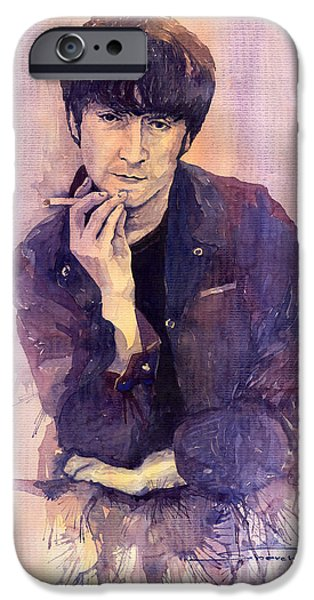 John Lennon Paintings iPhone Cases - The Beatles John Lennon iPhone Case by Yuriy  Shevchuk