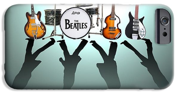 Pop Digital Art iPhone Cases - The Beatles iPhone Case by Lena Day