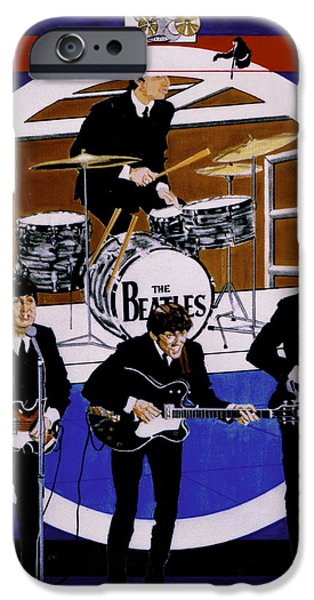 Mccartney Drawings iPhone Cases - The Beatles - Live On The Ed Sullivan Show iPhone Case by Sean Connolly