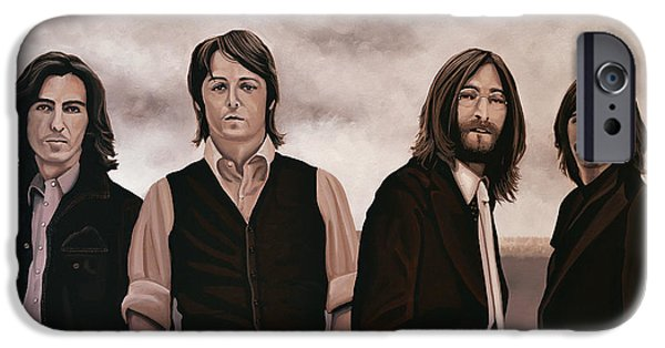 Portrait Paintings iPhone Cases - The Beatles iPhone Case by Paul  Meijering