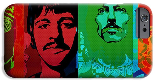 Beatles iPhone Cases - The Beatles psychedelic  iPhone Case by Jerry Cordeiro