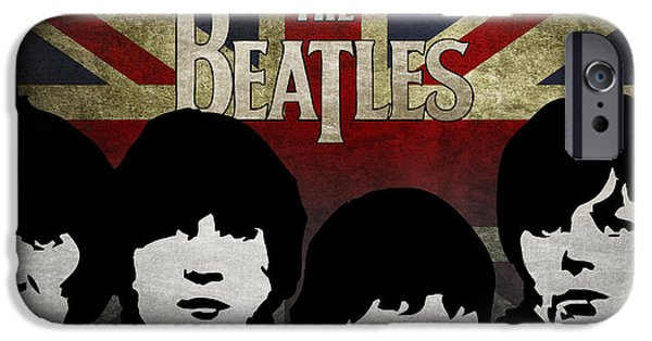 Beatles Digital Art iPhone Cases - The Beatles silhouettes iPhone Case by Aged Pixel