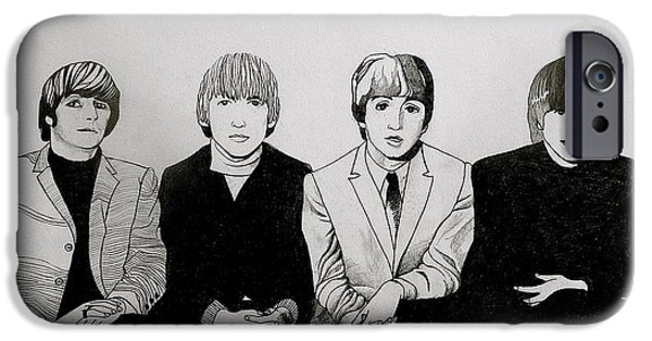 Mccartney Drawings iPhone Cases - The Beatles Study  iPhone Case by Maria Espach