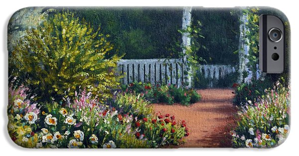 Garden Scene Paintings iPhone Cases - The Beautiful Garden iPhone Case by Rick Hansen