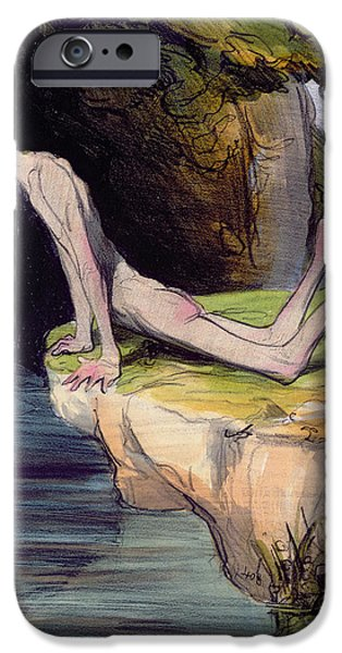 Caricature Drawings iPhone Cases - The Beautiful Narcissus iPhone Case by Honore Daumier