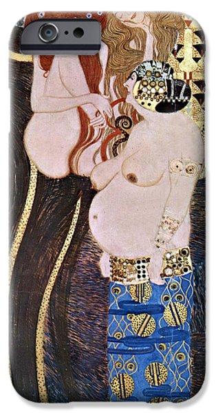 Woman In A Dress iPhone Cases - The Beethoven Frieze iPhone Case by Gustive Klimt