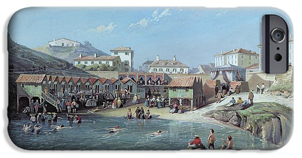 South West France iPhone Cases - The Beginning of Sea Swimming in the Old Port of Biarritz  iPhone Case by Jean Jacques Alban de Lesgallery