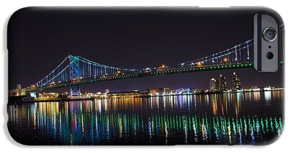 Franklin iPhone Cases - The Ben Franklin Bridge at Night iPhone Case by Bill Cannon