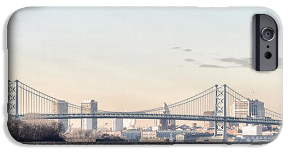 Franklin iPhone Cases - The Ben Franklin Bridge from Penn Treaty Park iPhone Case by Bill Cannon