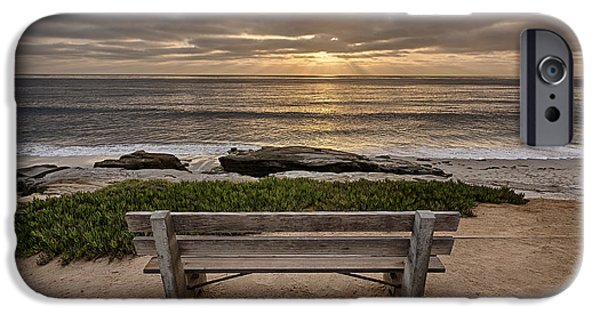 Beach Landscape iPhone Cases - The Bench III iPhone Case by Peter Tellone