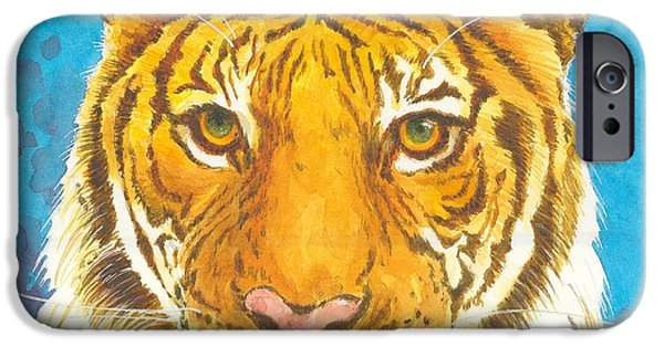 The Tiger Paintings iPhone Cases - The Bengal Tiger iPhone Case by Joyce Hensley