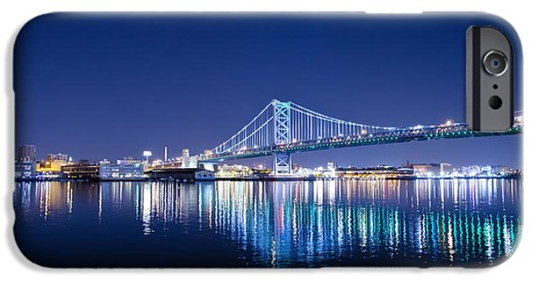 Franklin iPhone Cases - The Benjamin Franklin Bridge at Night iPhone Case by Bill Cannon
