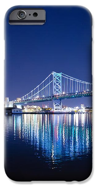 The Benjamin Franklin Bridge at Night iPhone Case by Bill Cannon