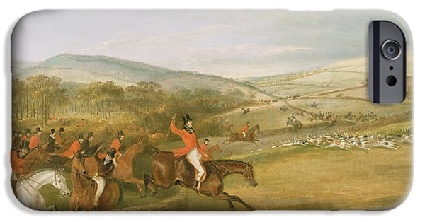 Hound iPhone Cases - The Berkeley Hunt, Full Cry, 1842 Oil On Canvas iPhone Case by Francis Calcraft Turner