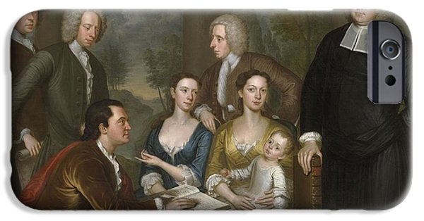 Bermudas iPhone Cases - The Bermuda Group, Dean Berkeley And His Entourage, 1728, Reworked 1739 Oil On Canvas iPhone Case by John Smibert