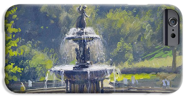 Summer iPhone Cases - The Bethesda Fountain, Central Park, 1996 Oil On Canvas iPhone Case by Julian Barrow