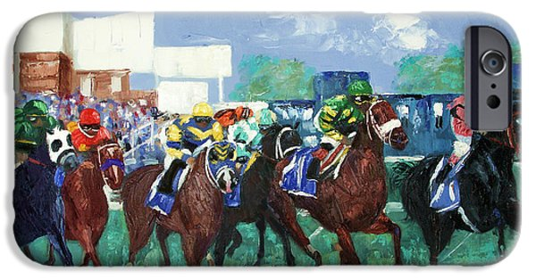 The Horse iPhone Cases - The Bets Are On Again iPhone Case by Anthony Falbo