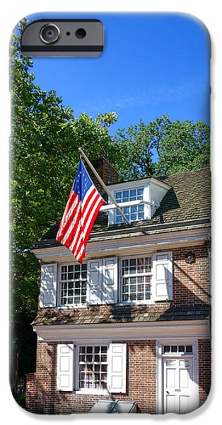 Betsy Ross iPhone Cases - The Betsy Ross House iPhone Case by Olivier Le Queinec