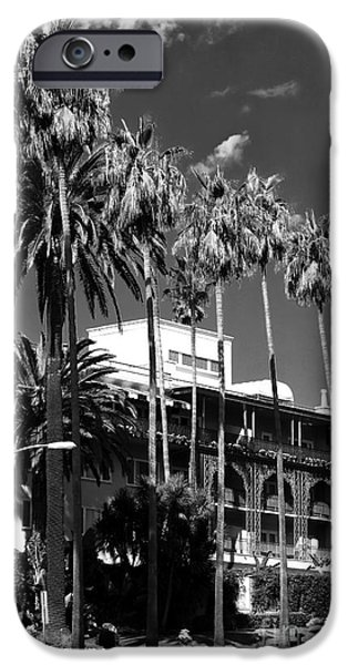 Tree Art Print iPhone Cases - The Beverly Hills Hotel iPhone Case by John Rizzuto