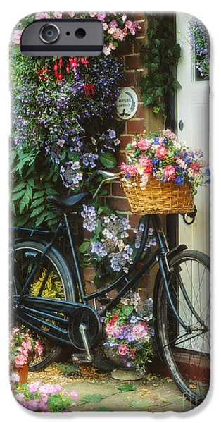 Fuchsia iPhone Cases - The Bicycle at Lavender Cottage iPhone Case by MGL Meiklejohn Graphics Licensing