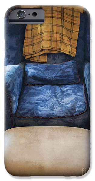 Pattern Books iPhone Cases - The Big Blue Chair - Oil iPhone Case by Edward Fielding