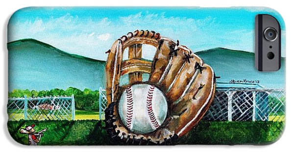 Baseball Uniform Paintings iPhone Cases - The Big Leagues iPhone Case by Shana Rowe