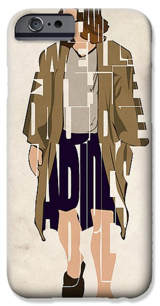 Character iPhone Cases - The Big Lebowski Inspired The Dude Typography Artwork iPhone Case by Ayse Deniz