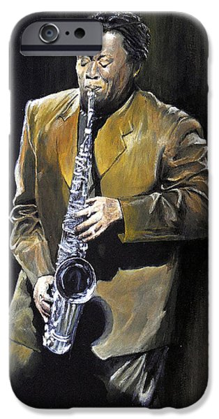 E Street Band Paintings iPhone Cases - The Big Man - Clarence Clemons iPhone Case by William Walts