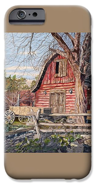 Old Barns Drawings iPhone Cases - The Big Red Barn iPhone Case by Gail Seufferlein