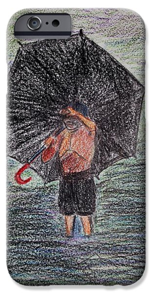 Umbrella Pastels iPhone Cases - The Big Umbrella iPhone Case by Vineeth Menon