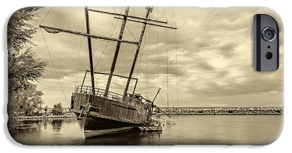 Pirate Ships iPhone Cases - The Big Weasel 2 sepia iPhone Case by Steve Harrington