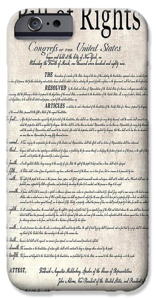 Republican Mixed Media iPhone Cases - THE BILL of RIGHTS PARCHMENT iPhone Case by Daniel Hagerman