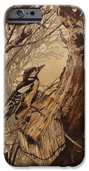 Birds Reliefs iPhone Cases - The Bird And Tree Marquetry Wood Work iPhone Case by Persian Art
