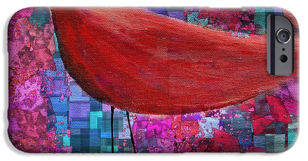 Red Abstract Mixed Media iPhone Cases - The Bird - s23a01bb iPhone Case by Variance Collections