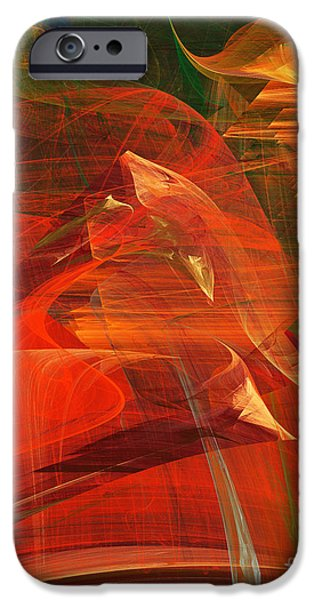 Fractals Fractal Digital Art iPhone Cases - The Bird Whisperer . A120423.693 iPhone Case by Wingsdomain Art and Photography