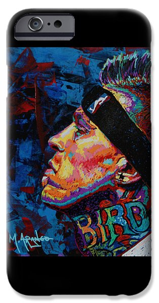 Miami Heat iPhone Cases - The Birdman Chris Andersen iPhone Case by Maria Arango