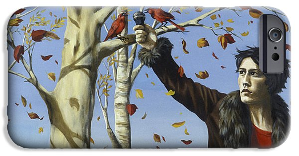 Autumn iPhone Cases - The Birds In Our Garden Acrylic & Oil On Canvas iPhone Case by Alix Soubiran-Hall
