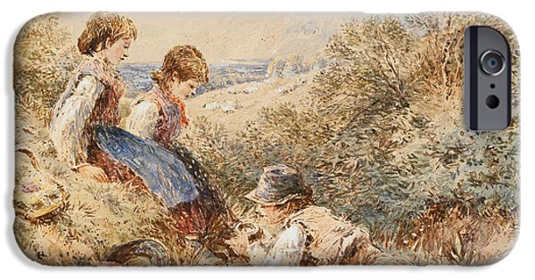 Innocence Paintings iPhone Cases - The Birds Nest iPhone Case by Myles Birket Foster