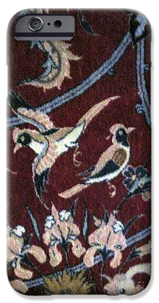 Persian Carpet iPhone Cases - The birds Photos of Persian Antique Rugs Kilims Carpets  iPhone Case by Persian Art