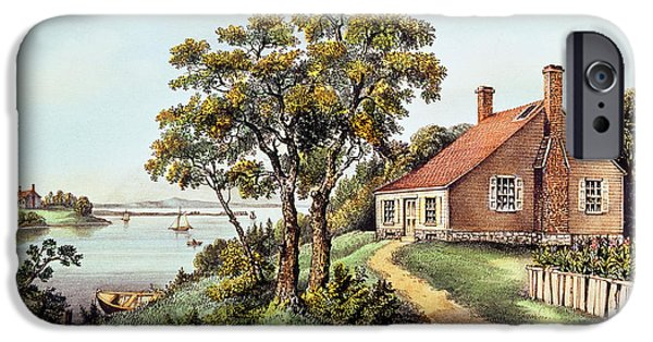 Nineteenth iPhone Cases - The Birthplace of Washington at Bridges Creek iPhone Case by Currier and Ives