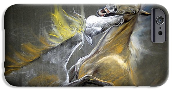 Horse Pastels iPhone Cases - The Bite iPhone Case by Angel  Tarantella