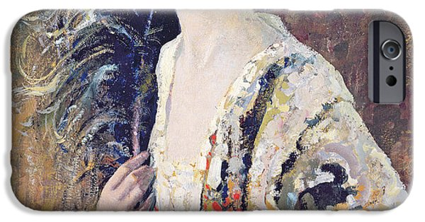 Portraits Female Paintings iPhone Cases - The Black Fan iPhone Case by Frederick Hammersley Ball