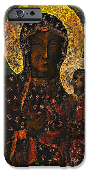 Baby Jesus iPhone Cases - The Black Madonna iPhone Case by Andrzej Szczerski