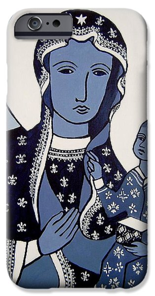 Baby Jesus iPhone Cases - The Black Madonna In Blue iPhone Case by John  Nolan