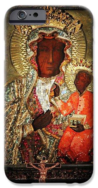 Christ Artwork iPhone Cases - The Black Madonna iPhone Case by Mariola Bitner